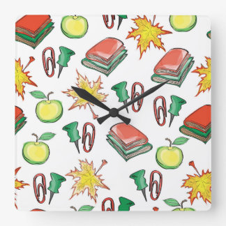 school seamless pattern with autumn leaves, apples wall clocks