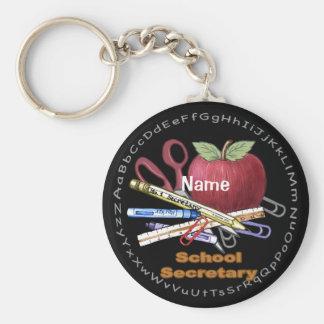 School Secretary Basic Round Button Keychain