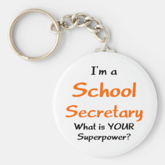 School secretary basic round button keychain