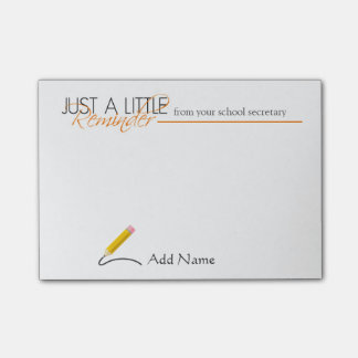 School Secretary Custom Name Post-it Notes