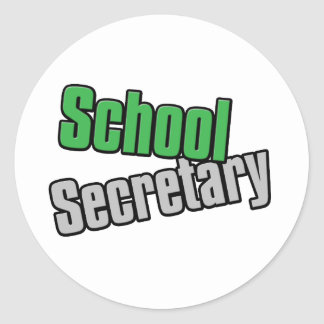 School Secretary Green and Gray Print Round Sticker