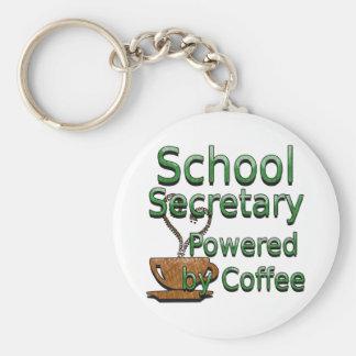 School Secretary Powered by Coffee Keychain