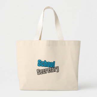 School Secretary with Blue and Gray Print Large Tote Bag