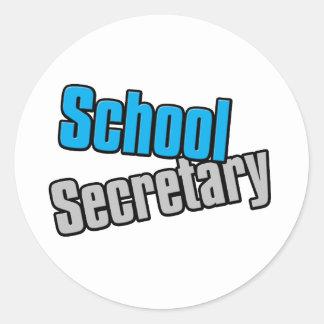 School Secretary with Blue and Gray Print Round Sticker