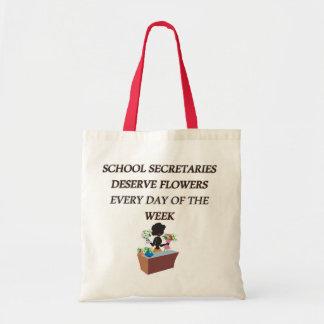 SCHOOL SECRETARYDESERVE FLOWERS BUDGET TOTE BAG