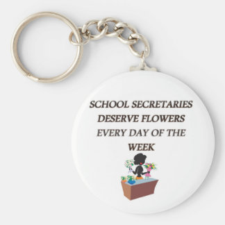 SCHOOL SECRETARYDESERVE FLOWERS KEYCHAIN