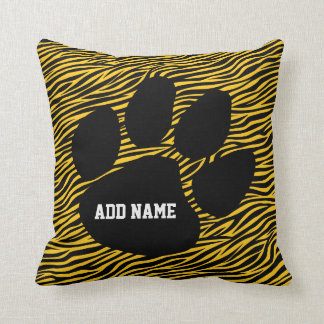 School Spirit - Tiger Paw Print and Stripes Throw Pillow