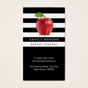 Teacher business cards business card printing zazzle ca school teacher apple elegant black white stripes business card reheart Image collections