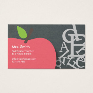 Teacher business cards business card printing zazzle ca school teacher apple amp letters chalkboard business card reheart Images