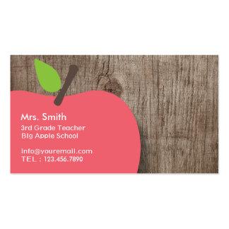 School Teacher Apple Wood Background Business Card