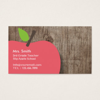 School Teacher Apple Wood Background Business Card