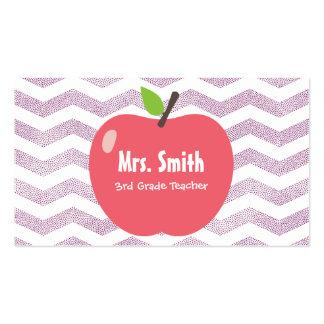 School Teacher Girly Chevron Stripes Big Apple Pack Of Standard Business Cards