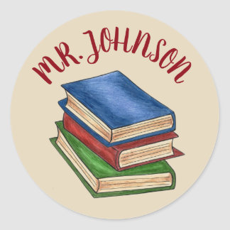 School Teacher Library Book Stack Personalized Classic Round Sticker