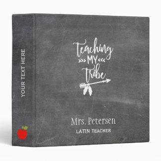 School teacher white script quote chalkboard 3 ring binder