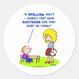 school teachers spelling test software classic round sticker