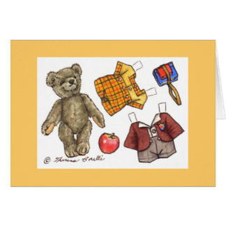 school teddy note card