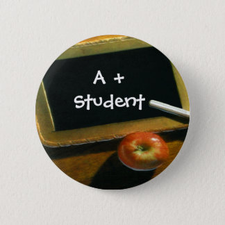 School Theme Chalkboard Apple Pin Button