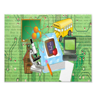 School Tools Supplies Collage Photographic Print