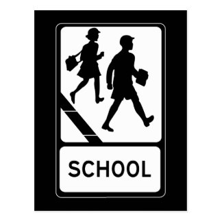 School, UK Traffic Sign Post Card