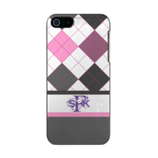 Schoolgirl argyle pink and gray cute monogram incipio feather® shine iPhone 5 case