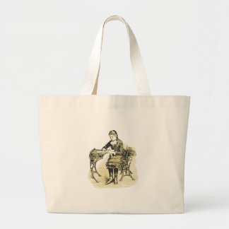 Schoolgirl, girl at school, student, sepia vintage large tote bag