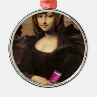 Schoolgirl style Mona Lisa Silver-Colored Round Ornament