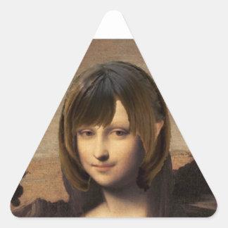 Schoolgirl style Mona Lisa Triangle Sticker