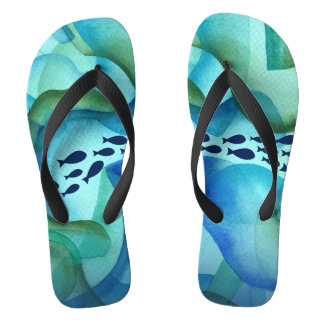 Schooling Fish Ocean Watercolor Flip Flops