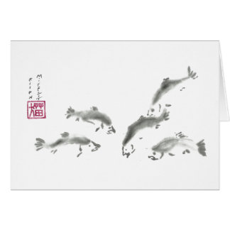 Schools In - Sumi-e Salmon Card