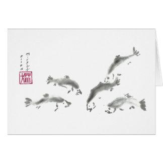 Schools In - Sumi-e Salmon Greeting Card