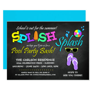 School's Out Pool Party Invitations