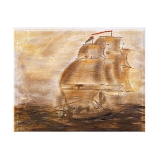 Schooner And Vintage Map Canvas Print