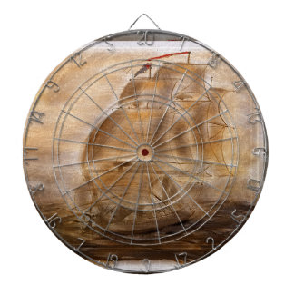 Schooner And Vintage Map Dartboard