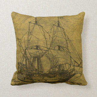 Schooner And Vintage Map Throw Pillow