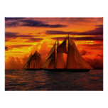 Schooner Bluenose at sunset II Poster