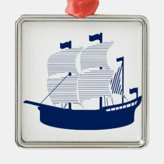 Schooner Navy Metal Ornament
