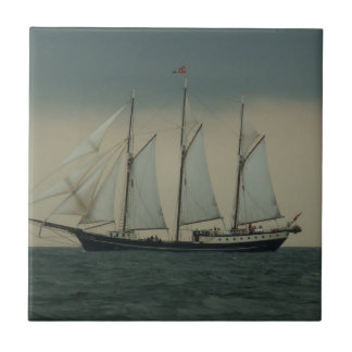 Schooner off the Dutch coast Tile