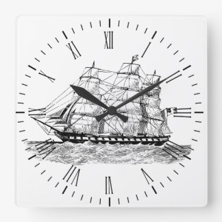 Schooner on Clock - Sailing Vessel on Clock