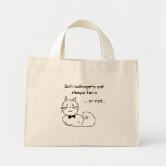 Schrodinger's cat sleeps here... mini tote bag