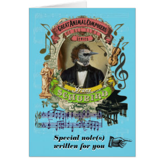 Schubert Parody Schubird Funny Animal Composer Card
