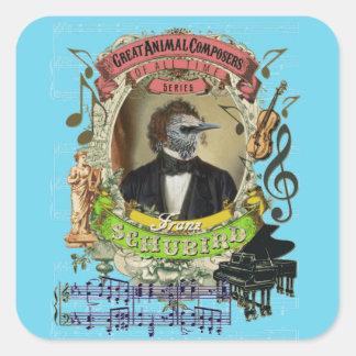 Schubird Funny Bird Animal Composers Schubert Square Sticker