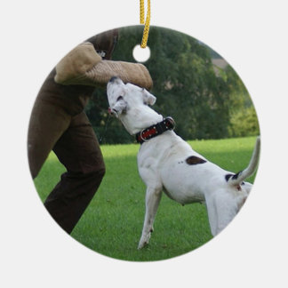 Schutzhund American Bulldog Round Ceramic Ornament