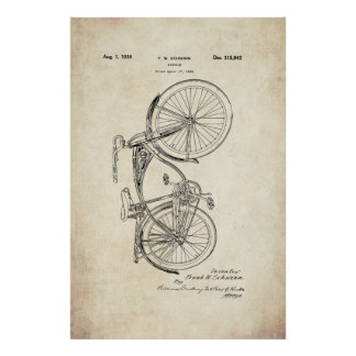 Schwinn Bicycle Patent Poster