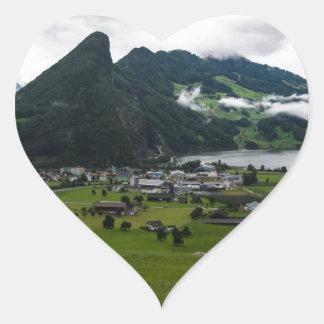 Schwyz Canton Panorama - Switzerland Heart Sticker
