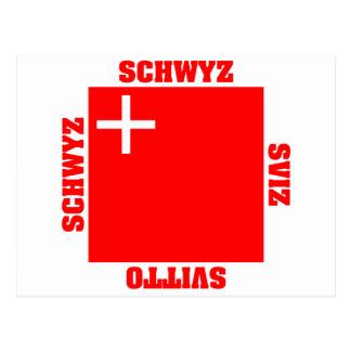Schwyz Switzerland Canton Flag Post Card