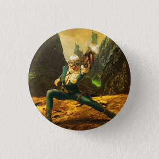Sci-Fi Female Soldier Fighting Back 1 Inch Round Button