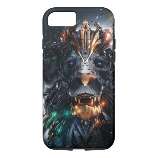 Sci Fi Lion Robot Black iPhone Case