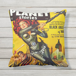SCI FI PULP PLANET STORIES COVER OUTDOOR PILLOW