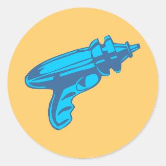 Sci-Fi Ray Gun Laser Pistol Round Sticker