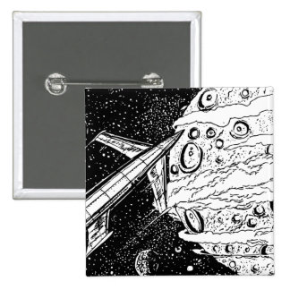Sci-Fi Retro Space Rocket 2 Inch Square Button